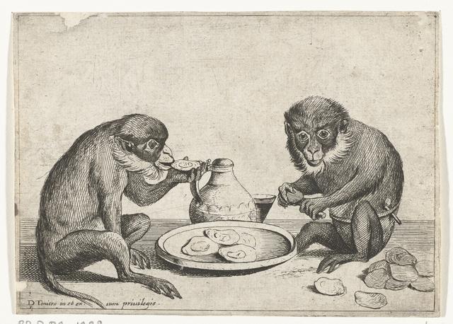 Twee apen eten oesters