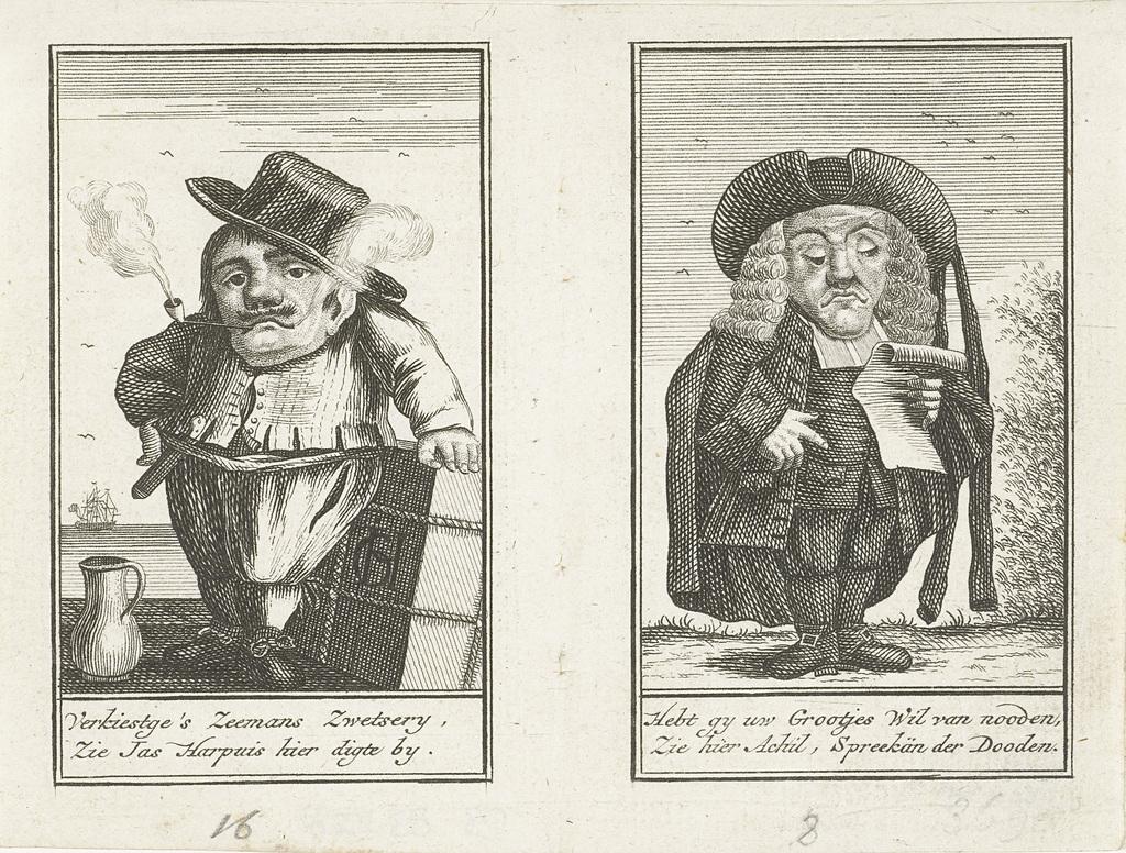 Twee bladzijden met dwergen, ca. 1720