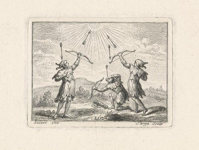Twee boogschutters schieten op de zon