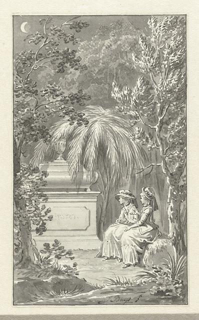 Twee dames zittend bij een graftombe