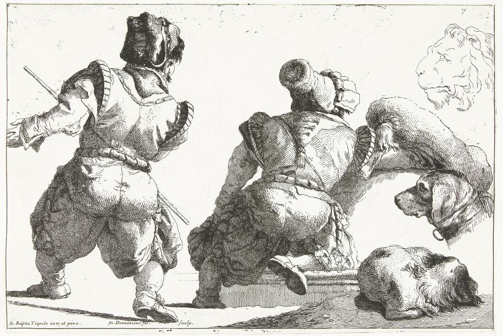 Twee dwergen en twee studies van hond en kop van leeuw