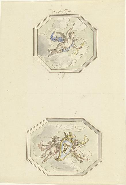 Twee ontwerpen voor plafondschilderingen: de Snelheid en putti met wapenschild