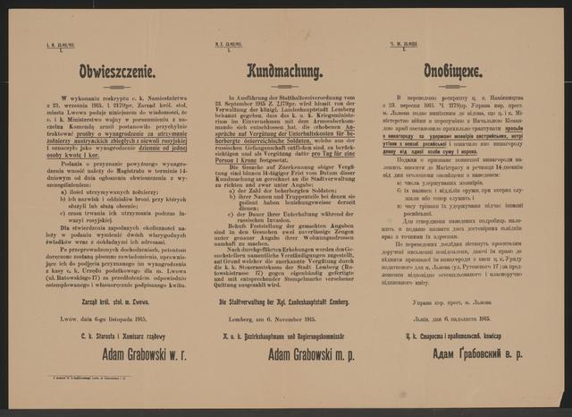 Unterhalt für beherbergte Soldaten - Kundmachung - Lemberg - Mehrsprachiges Plakat