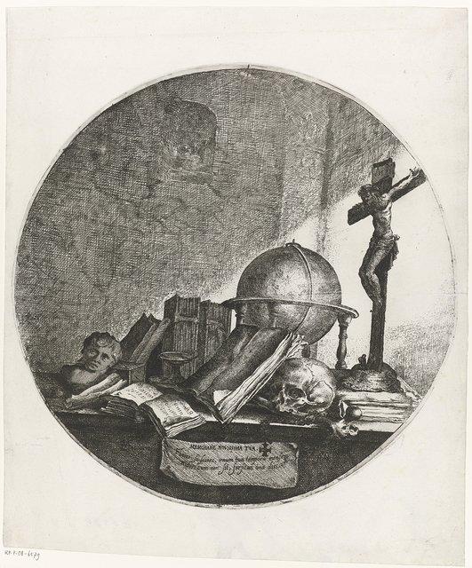 Vanitas met globe, crucifix, schedel en boeken