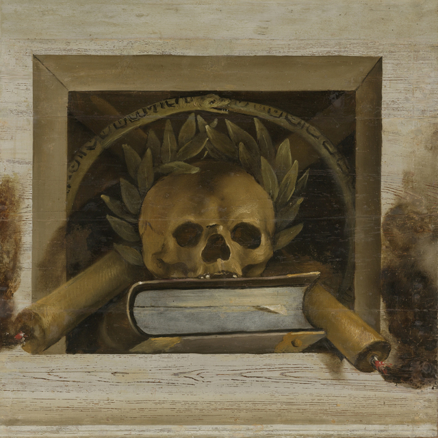 Vanitas Still Life with Scull with Laurel Wreath and two Burning Candles