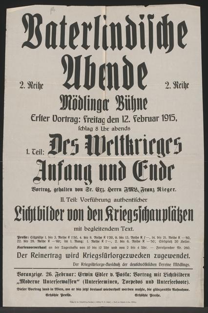 Vaterländische Abende - Mödlinger Bühne - Des Weltkrieges Anfang und Ende