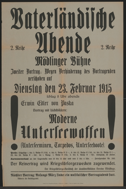 Vaterländische Abende - Mödlinger Bühne - Moderne Unterseewaffen