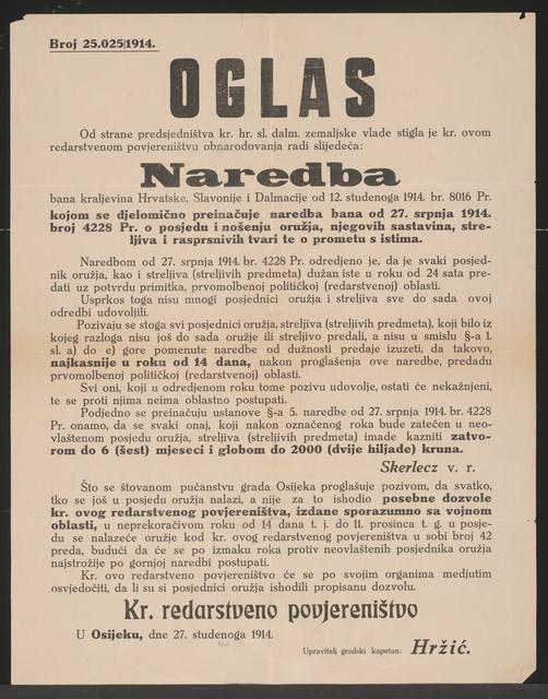 Verbot Waffen zu tragen - Bekanntmachung - Osijek - In kroatischer Sprache