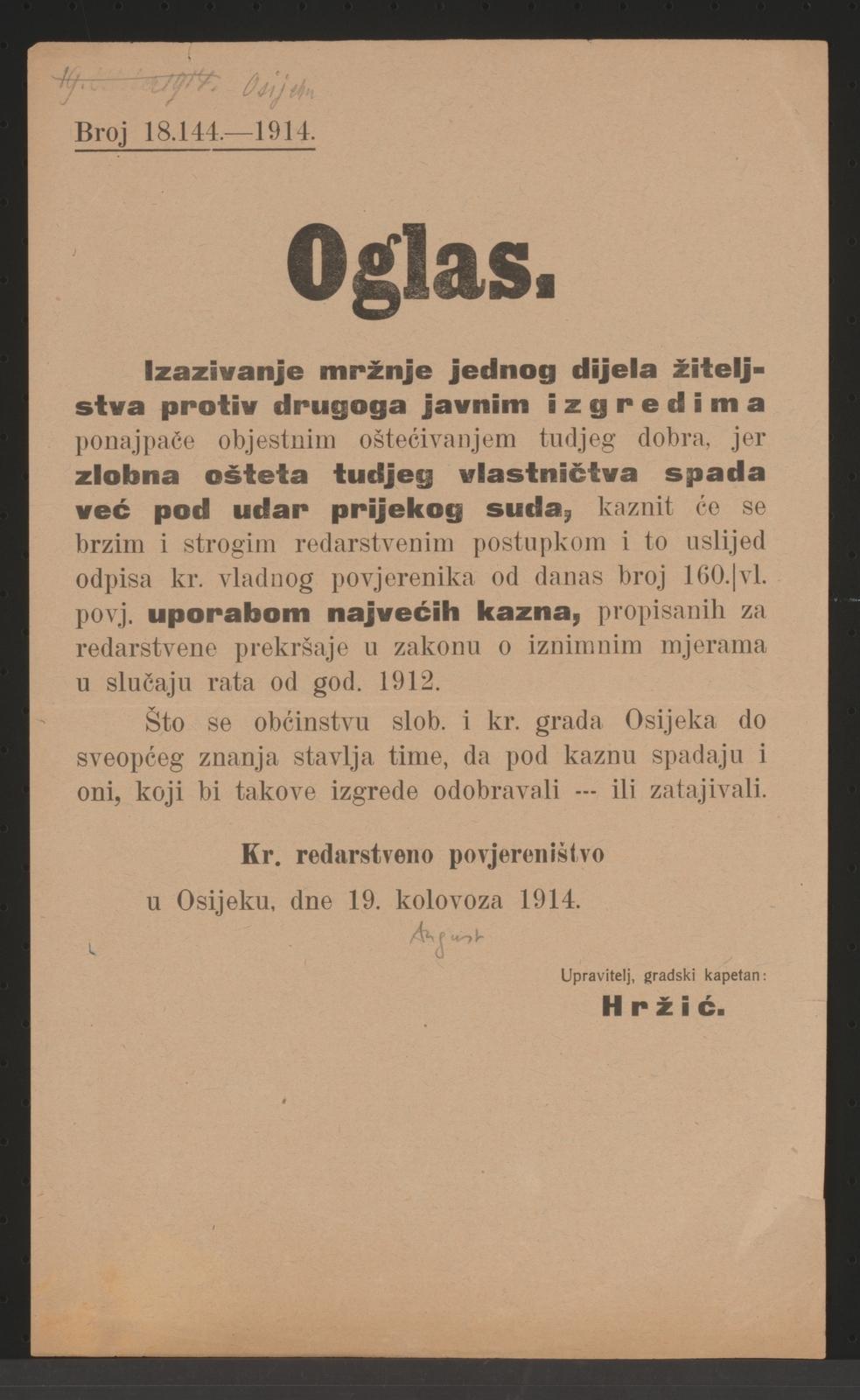 Verbrechensbekämpfung - Kriegsrecht - Bekanntmachung - Osijek - In kroatischer Sprache