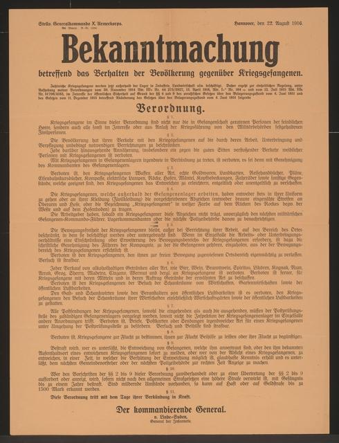 Verhalten gegenüber Kriegsgefangenen - Bekanntmachung - Hannover