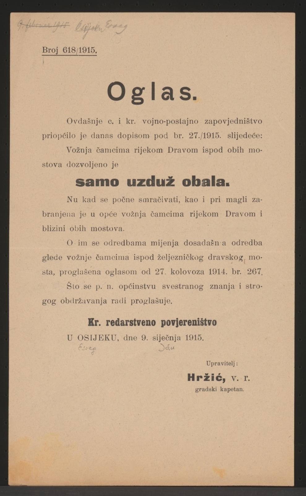 Verkehr auf der Drau - Verbot - Bekanntmachung - Osijek - In kroatischer Sprache