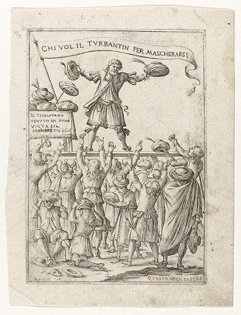 Verkoper van in Buda veroverde Turkse tulbanden (satirische voorstelling op de verovering van Buda op de Turken)