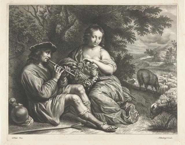 Verliefd herderspaar onder een boom