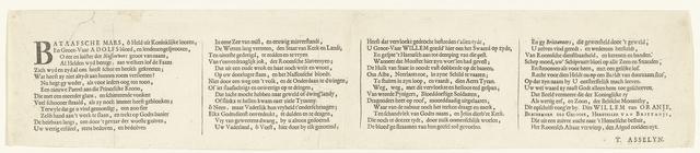 Vers bij de allegorie op het herstel van de ware godsdienst in Engeland met de komst van de prins van Oranje, 1688