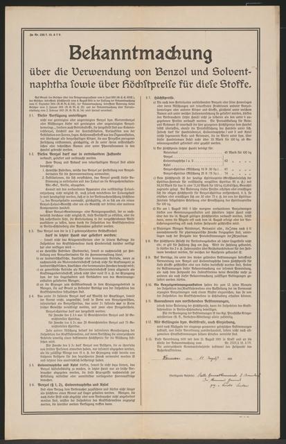 Verwendung und Höchstpreise von Benzol und Solventnaphta - Bekanntmachung - Hannover