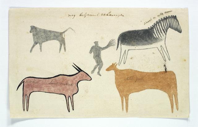 Vier dieren en een figuur in het midden