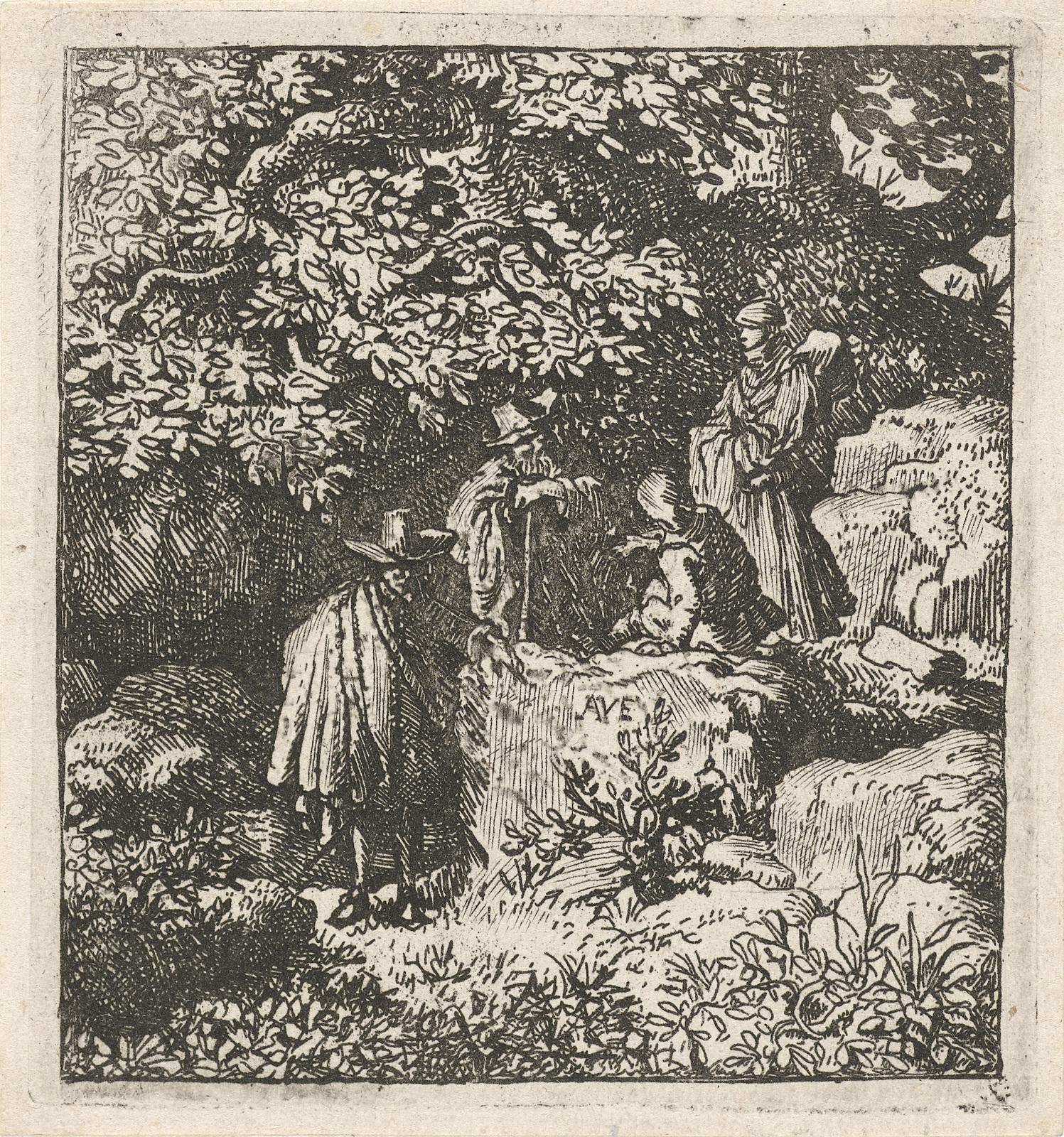 Vier figuren onder een boom