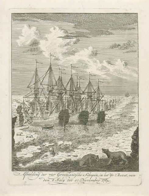 Vier Groenlandse schepen vast in het ijs, 1769