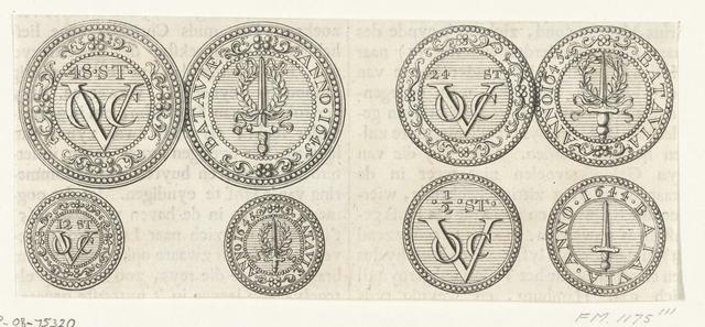 Vier munten van de VOC, 1644-1645