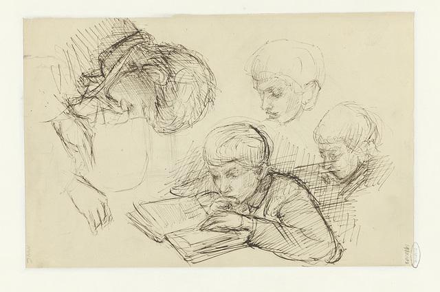 Vier studies van een lezende jongen