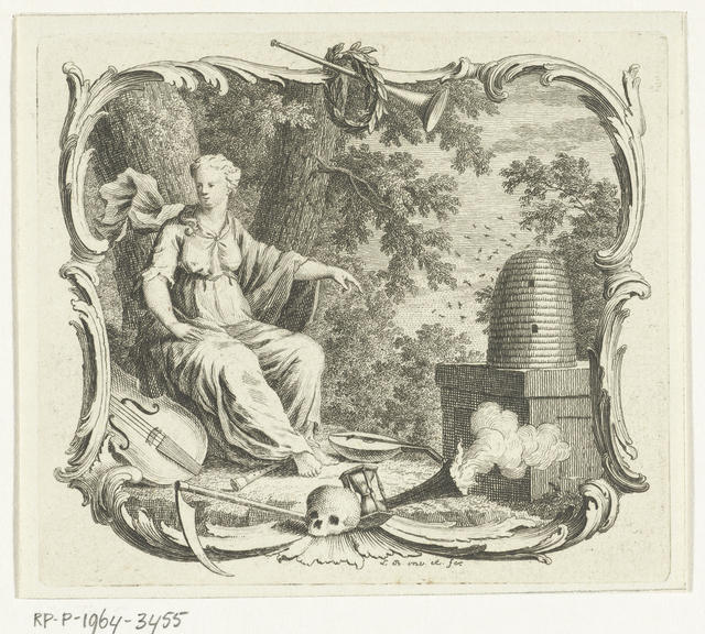 Vignet met allegorie met symbolen van overvloed en vergankelijkheid
