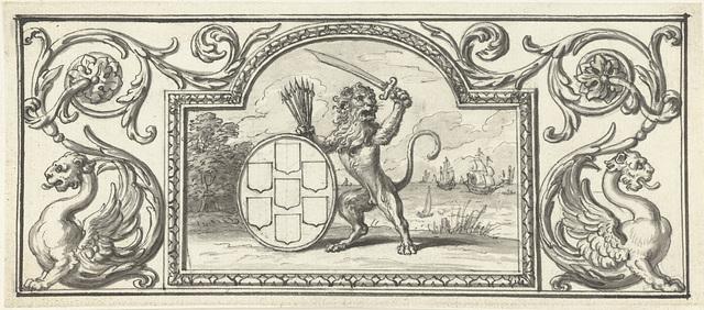 Vignet met de Nederlandse leeuw met het wapen van de Zeven Verenigde Provinciën