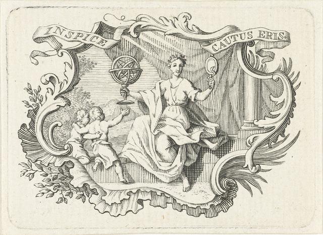 Vignet met personificatie van Voorzichtigheid in cartouche