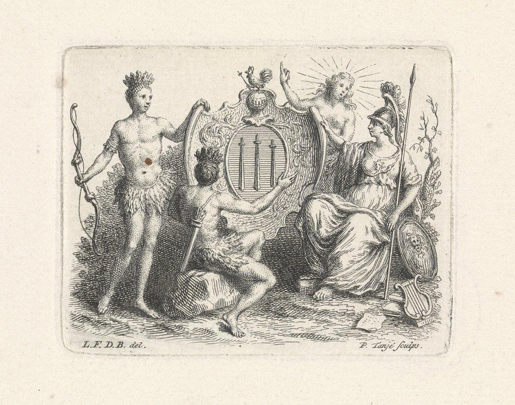 Vignet met wapenschild met drie zwaarden