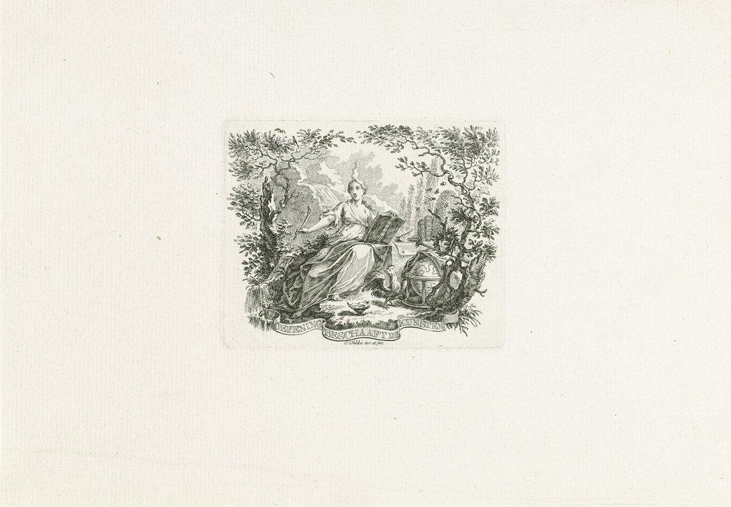 Vignet van het kunstgenootschap Oefening Beschaaft de Kunsten, ca. 1764-1769