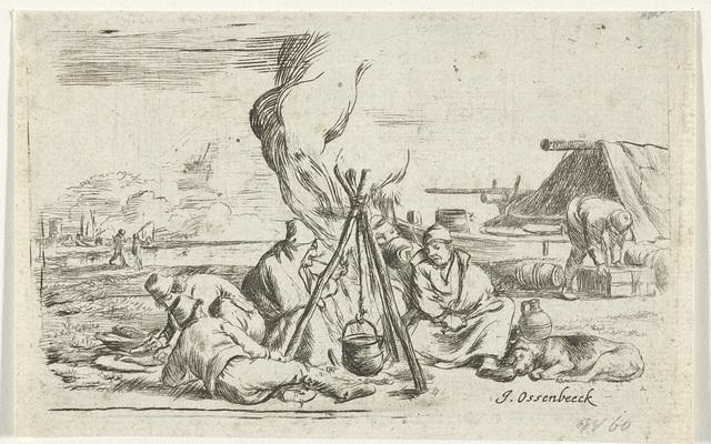 Vijf soldaten rond een kampvuur