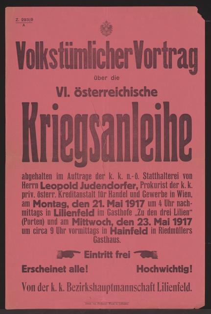 Volkstümlicher Vortrag - Sechste österreichische Kriegsanleihe - Lilienfeld