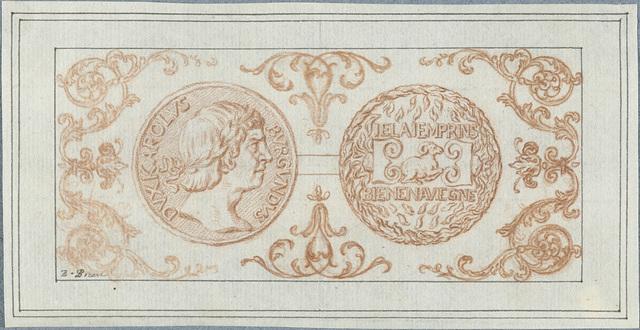 Voor- en achterzijde van een penning met portret van Karel de Stoute, hertog van Bourgondië