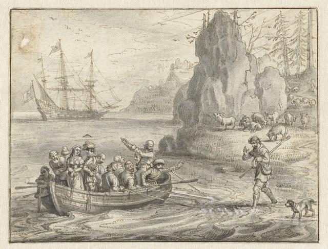 Voorstelling uit de geschiedenis van Celadon en Galathee