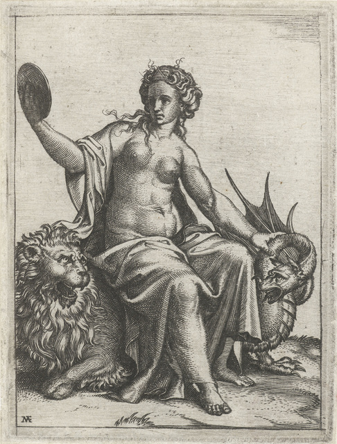 Voorzichtigheid (Prudentia) met spiegel zittend op leeuw houdt een draak in bedwang