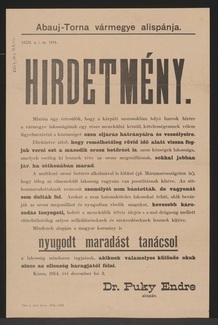 Vor Flucht wird abgeraten - Bekanntmachung - Kaschau - In ungarischer Sprache