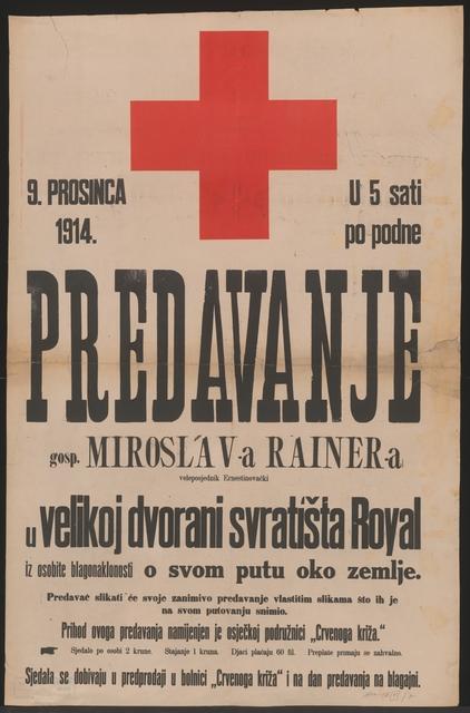 Vortrag zu Gunsten des Roten Kreuzes - Plakat - In kroatischer Sprache