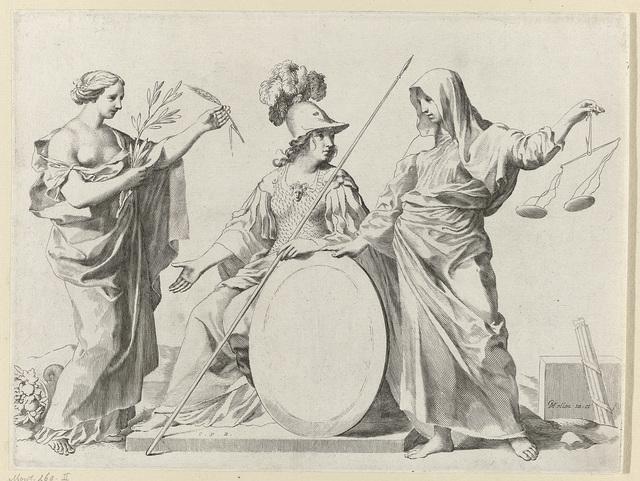 Vrede, Minerva en Justitia bij het wapen van Gallard en Mesmes