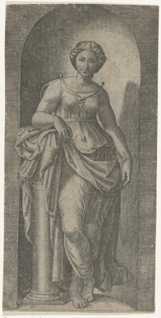 Vrouw als personificatie van Kracht (Fortitudo) leunend op zuil staand in nis