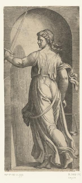 Vrouw als personificatie van Rechtvaardigheid (Justitia) met weegschaal en zwaard staand in nis