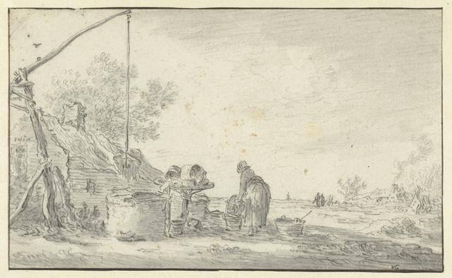 Vrouw bij een waterput