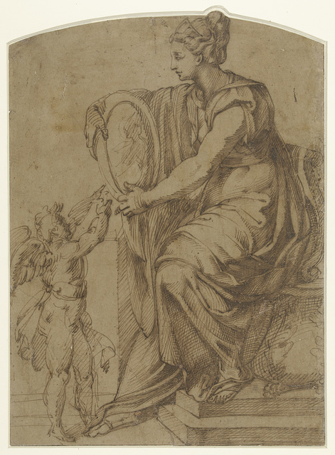 Vrouw met een spiegel op een troon zittend (Prudentia?)
