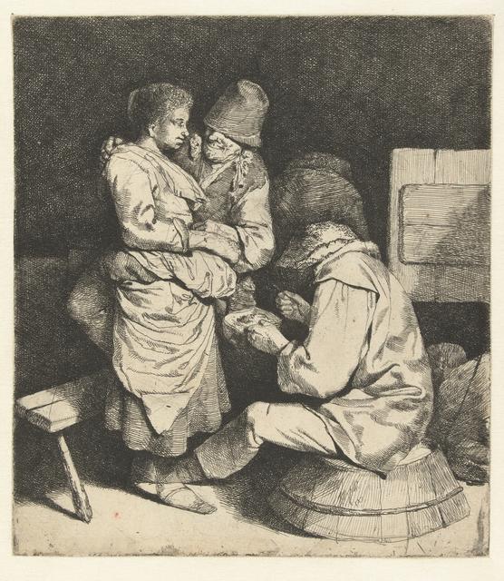 Vrouw vastgepakt door man, andere man zit te eten in herberg