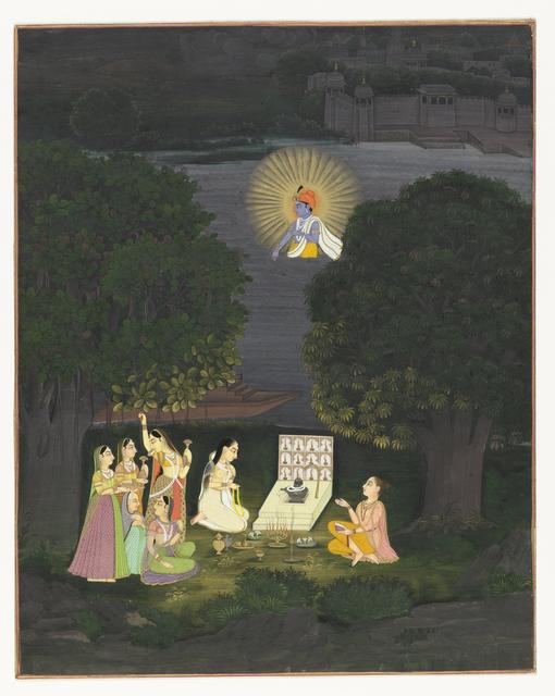 Vrouwen die Shiva aanbidden worden onderbroken door een visioen van Krishna