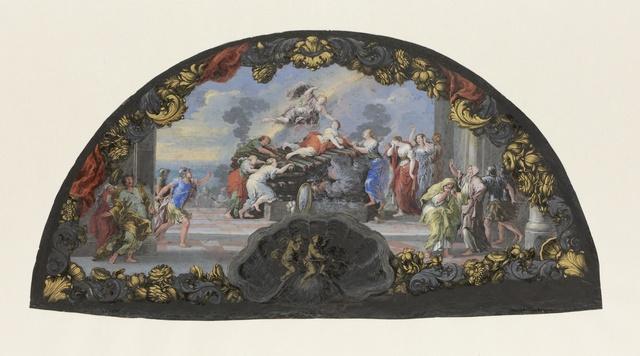 Waaierblad van dun leer, waarop met tempera en oostindische inkt 'Dido op de brandstapel' is geschilderd omgeven door een zware ornamentale rand.