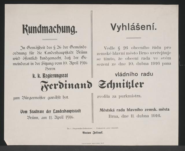 Wahl des Bürgermeisters - Kundmachung - Brünn - Mehrsprachiges Plakat