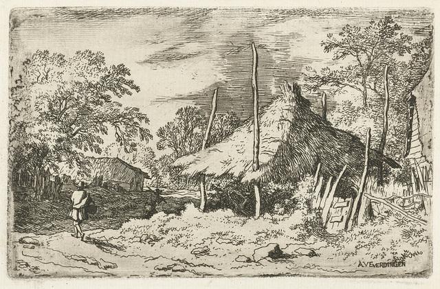 Wandelaar bij een hooiberg