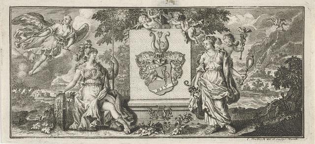 Wapenschild geflankeerd door Minerva en Prudentia