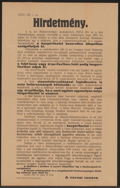 Weizenmehlanteil im Brot, Mehlpreise - Kundmachung - Arad - In ungarischer Sprache