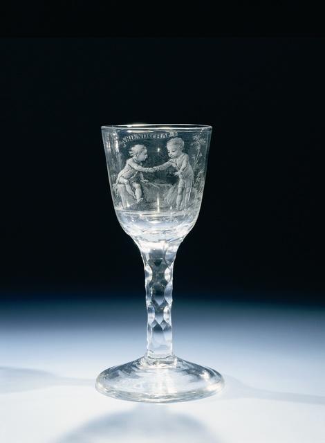 Wijnglas met een voorstelling van De Vriendschap
