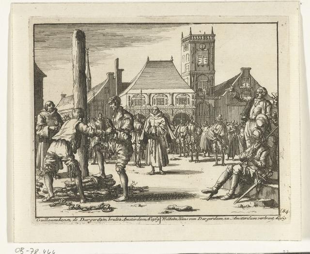 Willem Jansz. beklimt de brandstapel te Amsterdam, 1569